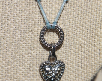 Silver and crystal heart hemp necklace