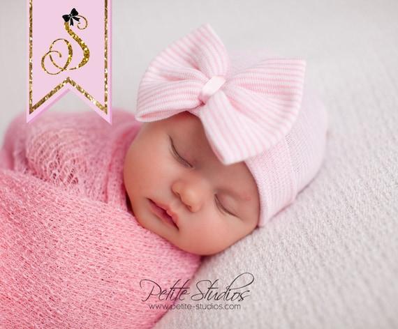 hospital newborn hat newborn baby girl beanie with bow pink newborn hat newborn coming home outift baby girl