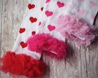 Girls Valentine Pink Hearts Leg warmers with ruffles Photo prop First Valentines Day Birthday Gift