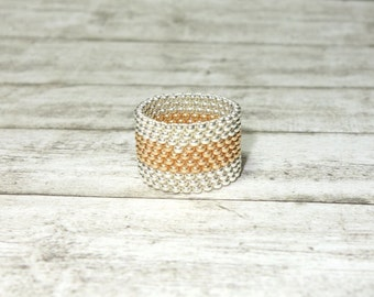 Ring Pearl ring bicolor Silver - Gold bead ring threaded Peyotering
