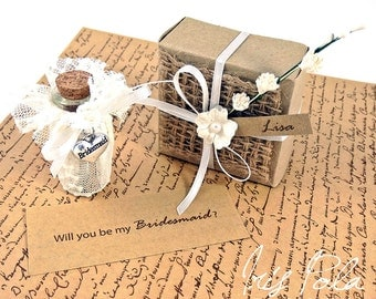 Will you be my Bridesmaid, Secret message, Bottle, Lace, Ribbon, Pearls, Vintage Wedding, Favor, ECO, Paper Kraft, Origami Box