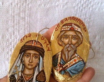 St Olga and St Vladimir of  Kiev - Miniature russian saints- hanging orthodox icon- hand painted easter orthodox ornament by angelicon