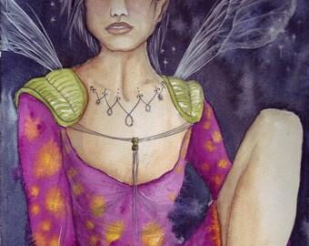Inner Peace/Original Watercolour Painting/Fairy Art/Fairy/Faerie Art/Mystic Faerie/Peaceful Fairy/Original Art