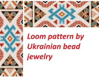 Geometric tribal patterns loom pattern beading delica beads cuff ethnic patterns bracelet model DIY american indian pattern native tutorial