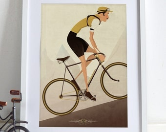 Vintage Style Cyclist Bicycle Bike Poster Wall Art Print Home Décor