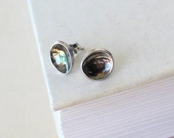 BEACH PEBBLES Stud Earrings, Sterling Silver Blackened Discs Post Earrings, Blackened Silver Stud Earrings