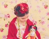 Frida Kahlo doll, cloth doll, Handmade, stuffed doll, hand painted, flowers, Fabric Rag Doll, flowers, frida, day of the dead