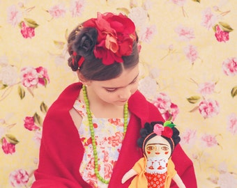 Frida Kahlo doll, cloth doll, Handmade, stuffed doll, hand painted