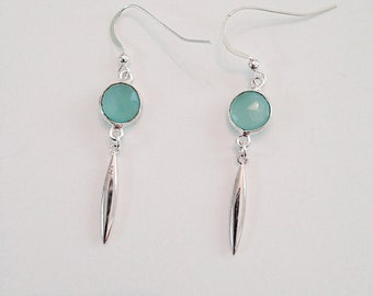 Sterling Silver Drop Earrings with 9mm Coin Shape Chalcedony Connector