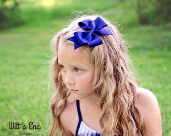 "Navy Blue Hair Bow, 4 inch Solid Hair Bow,  Boutique Hair Bow, 4"" Hair Bow, Basic Hair Bow, Simple Hair Bow"