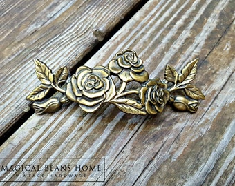 Rose Dresser Pulls Shabby Chic Furniture Pulls KBC Cabinet Pulls Vintage Antiqued Brass Drawer Pulls Floral Dresser Hardware