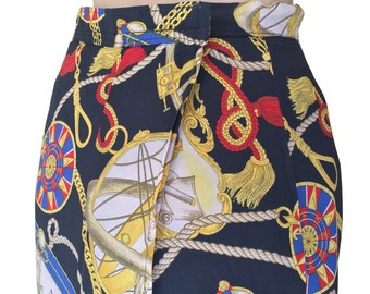 Nautical 80s Vintage Maxi Wrap Skirt Hawaiian Swimsuit Cover Up Size SMALL to MEDIUM