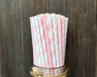 100 Light Pink Combo Paper Straws, Baby Pink Vintage Straws, Baby Shower Supply, Free Shipping!