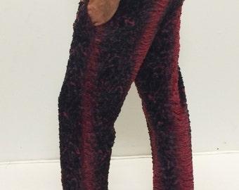 """Red """"Jeffrey"""" Fur Comfy Festival Pants with Zipper Pockets // Faux Fur Slacks"""