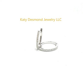Diamond Huggie earrings in 14K White/Yellow/Rose Gold  ,Good for first , second and even third holes  # 505366,#505367,#505379