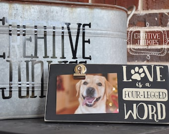 Love is a Four-Legged Word Photoboard Frame with Bulldog Clip / Picture Frame / Photo Frame / Memo Board
