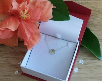 14kt gold necklace Block Letter Solid 14kt gold Initial Necklace 14kt white gold or 14kt yellow gold