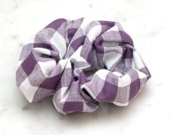 Paars witte Checkered haar Scrunchie - handgemaakte Scrunchy - katoen Scrunchie - Cheerleader - haaraccessoires - voorjaar haar
