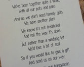 Wedding Poem Invitation Insert - Money As A Gift - 4 x Poems and designs