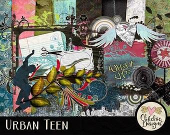 Teen Digital Scrapbook Kit Clip Art - Urban Teen - Grunge Teen Digital Scrapbooking Papers & Embellishments