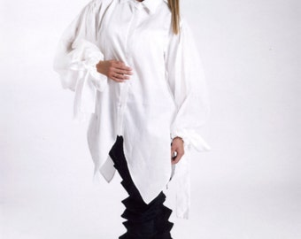 White Cotton Shirt, Long Sleeve Shirt, White Dress Tunic, Oversize Shirt, Plus Size Tunic, White Fashion Shirt, White Women's Top,White Top