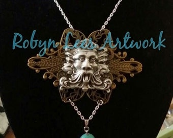 Silver & Bronze Filigree Ancient Greek Style Greenman Necklace with Turquoise Stone Set into Silver Hand