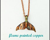 Flame painted copper, whale tail pendant, whale pendant, orca whale jewelry, whale tail necklace, killer whale pendant, whale fluke jewelry