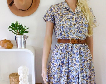 Vintage cotton dress floral pattern full skirt clinched waist handmade 1950's