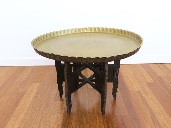 vintage middle eastern brass tray coffee table folding. Black Bedroom Furniture Sets. Home Design Ideas