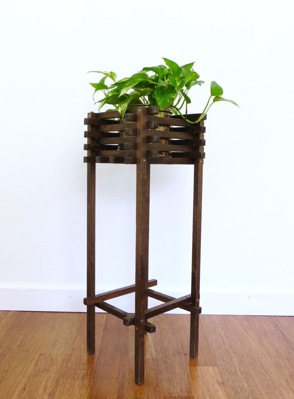 vintage mid century wood slat plant stand handmade rustic. Black Bedroom Furniture Sets. Home Design Ideas