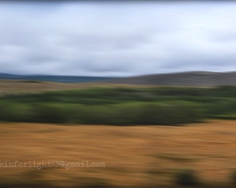 Dreamy Landscape Photo Art, Abstract Landscape, Panoramic Nature, Moving Landscape, Blue Golden Panorama, California Landscape, Motion Photo