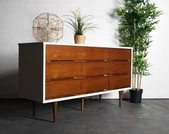 ON SALE Gorgeous and Versatile 2 Tone Mid Century Long Dresser / Credenza