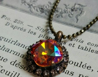 TANGERINE AB Brass– Necklace with Swarovski Tangerine AB 10mm Square Cushion Cut surrounded by rhinestones