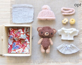 Mini Teddy - Toy Play Set - Dress up Toy - Toy with clothes - Stuffed Teddy Bear - Dolls and Miniatures - Gift for Children