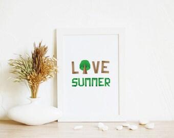 Printable Art, Summer Print | Digital Print, Typography print, Home Office Decor, Kids Wall art, Summer art, Love wall art, Green art print