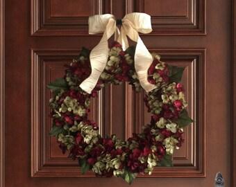 Christmas Wreath in Deep Burgundy and Green | Blended Hydrangea Wreath | Holiday Wreath | Front Door Wreath | Christmas Decor