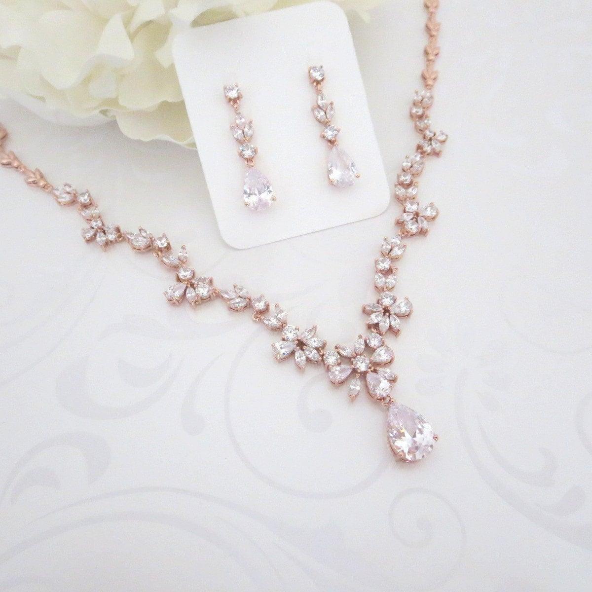 rose gold necklace rose gold bridal jewelry set wedding. Black Bedroom Furniture Sets. Home Design Ideas