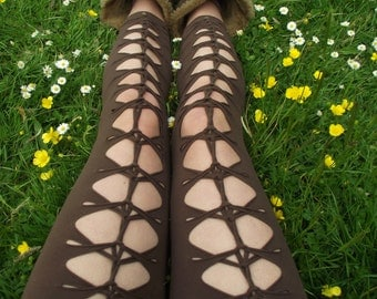 Dragonfly Garter Woven Cotton Leggings burning man, festival clothing, boom, goa, psychedelic, braided, cosplay