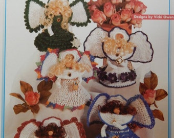Clothespin Angel Crochet Patterns/ 16 Quick to Crochet Heavenly Angels by Vicki Owen/ Gifts for all occasions, ornaments, decorations