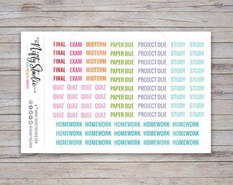 School Stickers, college planner stickers, student, back to school, assignment, class, agenda, erin condren | The Nifty Studio (#112)