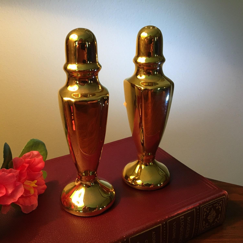 Elegant Warranted 22 Kt Gold Salt And Pepper Shakers