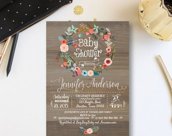 Vintage Wood Baby Shower Invitation, Floral wreath Baby Shower Invite, Baby Shower Invitation, Summer Invitation, Free Thank You Card, WR