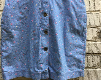 90s Floral Skort. 1990s Liz Claiborne Blue and Pink Flower Skirt Shorts. Medium Size 6. Cotton.
