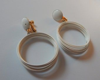 Vintage Vendome Earrings Gold Tone White Dangle Drop Hoop Vintage Signed Earrings