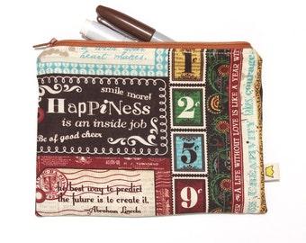Inspirational quotes zipper pouch, fun pencil case or makeup pouch