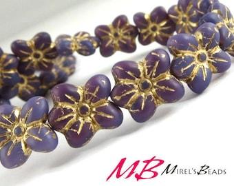 10 pcs Purple Flower Beads, Old Gold Patina Czech Glass Beads, Puffed Flower 14mm Glass