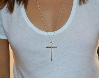 Silver Cross Pendant - Silver Cross Long Necklace - Grunge Style