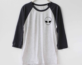 Alien Shirt Baseball Raglan Shirt Tee TShirt