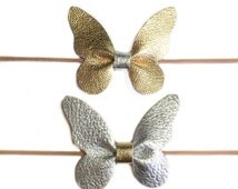 Butterfly headband, nylon bows, gold leather bow, silver bow, butterfly bow, leather headband, baby headbands, newborn bows
