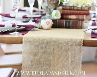 Burlap Table Runner with Fringed Edge 12 1/2 inches x 76 inches | Rustic Burlap Table Runners, Wedding Table Decor, Outdoor Gatherings